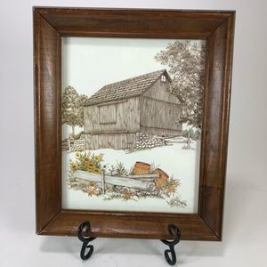Vintage framed barn print farmhouse chic decor